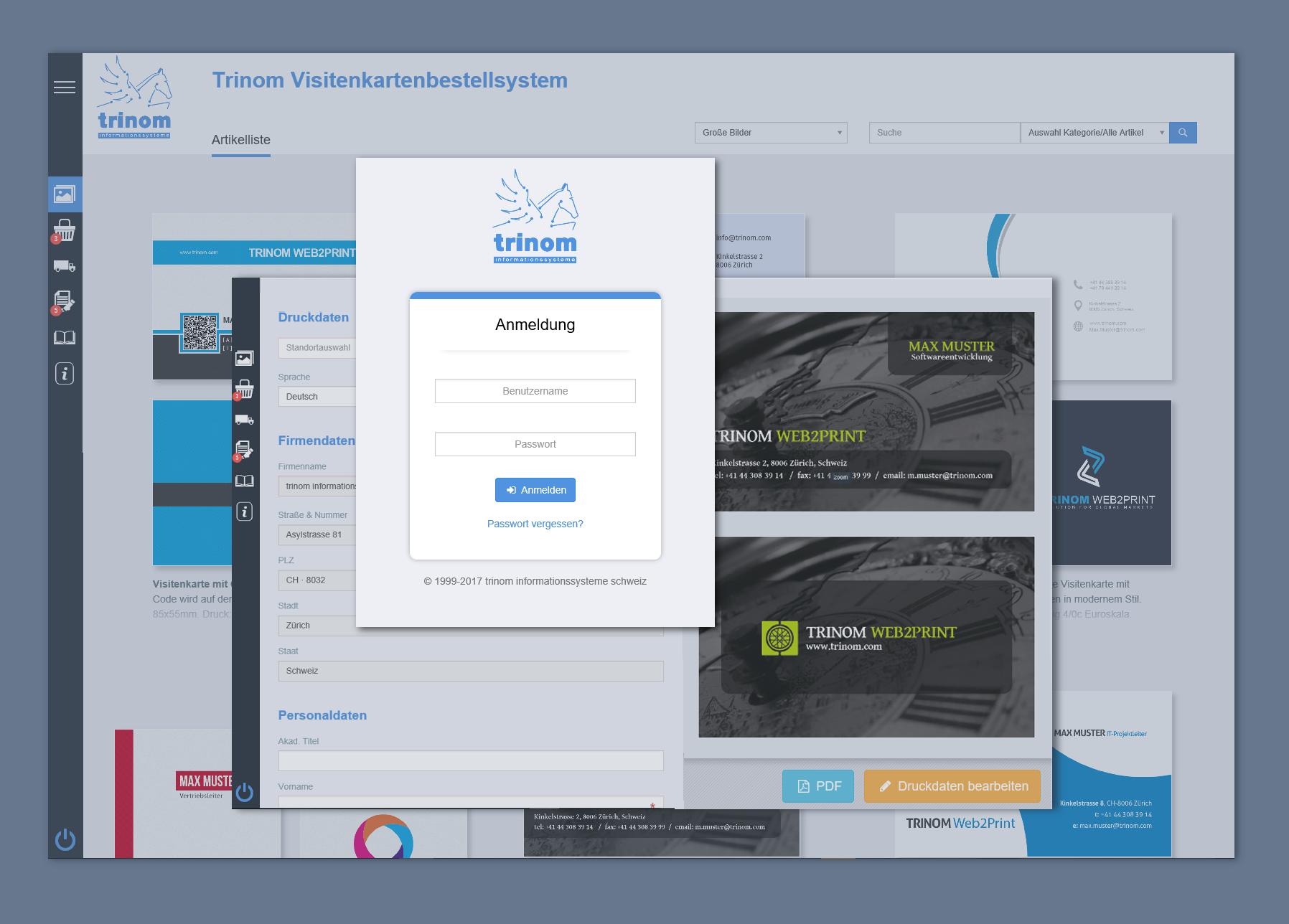 Die neue Oberfläche für das trinom Web2Print Procurement System im Test